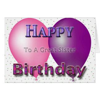 Balões da irmã do feliz aniversario cartão comemorativo