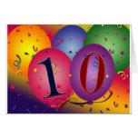 Balões do aniversário da criança de 10 anos! cartões