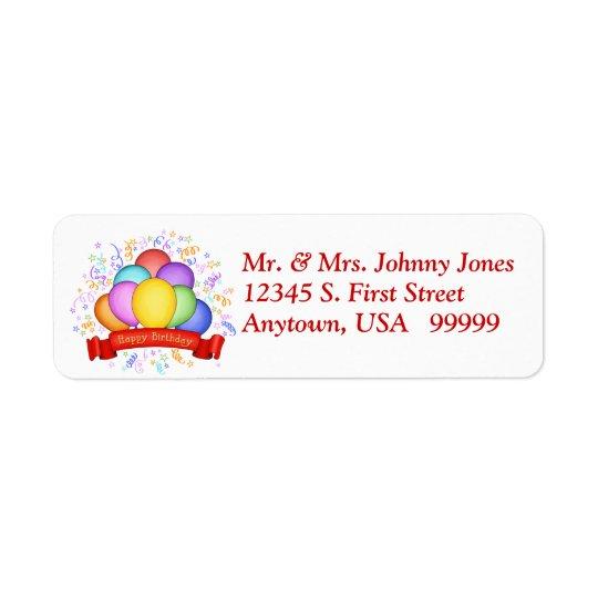 Balões do aniversário & etiquetas de endereço do etiqueta endereço de retorno