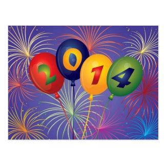 Balões do ano novo 2014 com cartão dos fogos-de-ar cartao postal