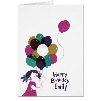 Balões do cartão do feliz aniversario