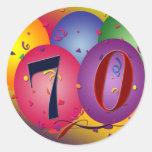 Balões do feliz aniversario - aniversário do 70 adesivos em formato redondos