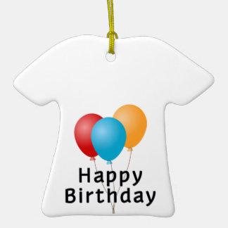 Balões do feliz aniversario ornamento de cerâmica camiseta