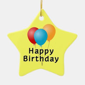 Balões do feliz aniversario ornamento de cerâmica estrela
