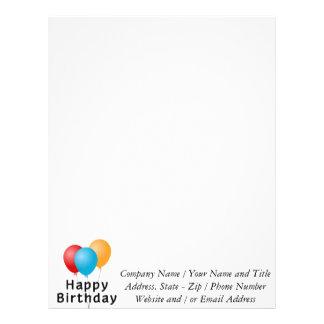 Balões do feliz aniversario papel de carta personalizados