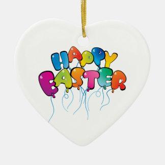Balões do felz pascoa ornamento de cerâmica coração