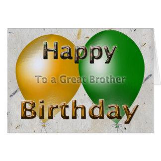 Balões do irmão do feliz aniversario cartão comemorativo