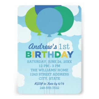 Balões do verde azul do convite de aniversário