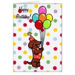 Balões dos desenhos animados do aniversário do Dac Cartão