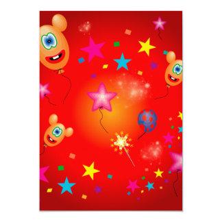 Balões e estrelas engraçados convite 12.7 x 17.78cm