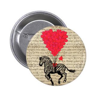 Balões engraçados da zebra & do coração do vintage botons