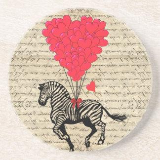 Balões engraçados da zebra & do coração do vintage porta copo