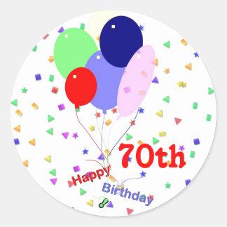 Balões felizes coloridos do aniversário do 70 adesivo