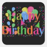 Balões felizes da festa de aniversário adesivo quadrado