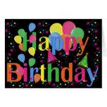 Balões felizes da festa de aniversário cartao