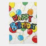 balões felizes da festa de aniversário toalhas de mão