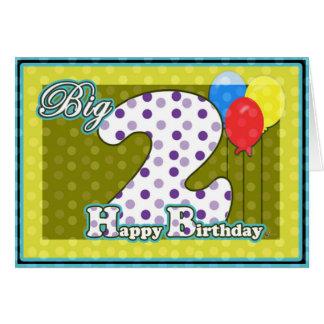 Balões felizes do segundo aniversário com segundo cartão comemorativo