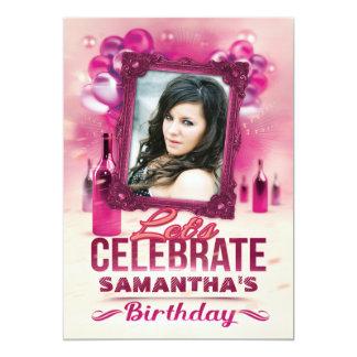 Balões glamoroso e foto cor-de-rosa do aniversário convite 12.7 x 17.78cm