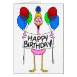 Balões lunáticos do feliz aniversario do flamingo cartões