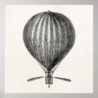 Balões retros do dirigível do balão de ar quente pôster