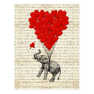 Balões românticos do elefante & do coração cartao postal