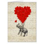 Balões românticos do elefante & do coração cartoes