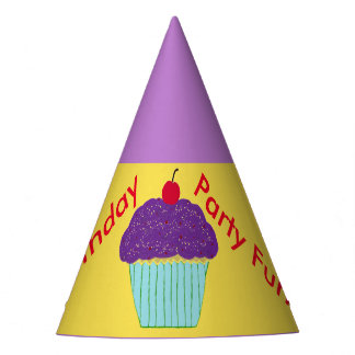 Balões roxos do cupcake do glacé dos chapéus do