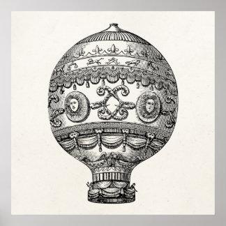 Balões velhos do dirigível retro do balão de ar pôster