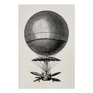 Balões velhos do dirigível retro do balão de ar poster