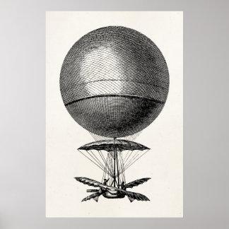 Balões velhos do dirigível retro do balão de ar qu poster
