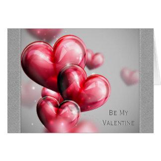 Balões vermelhos do coração do dia dos namorados cartão comemorativo