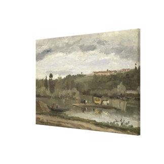 Balsa em Varenne-Santo-Hilário 1864 Impressão De Canvas Esticadas