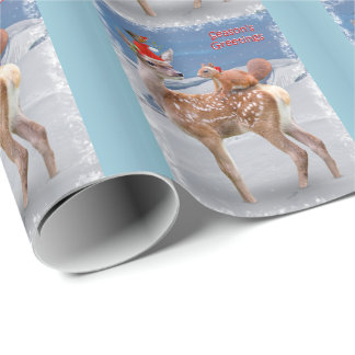 Bambi e papel de envolvimento dos amigos - Natal Papel De Presente
