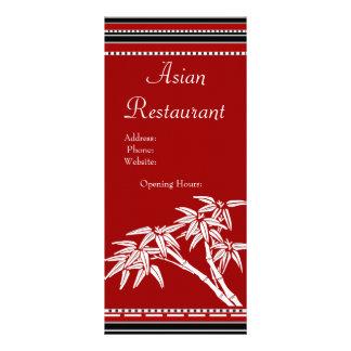 Bambu asiático branco preto vermelho do menu do ca 10.16 x 22.86cm panfleto