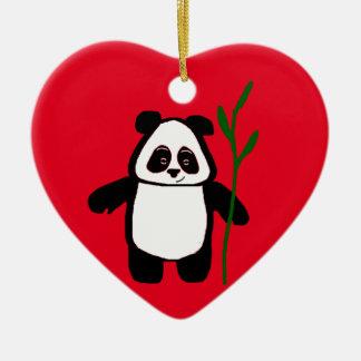 Bambu o ornamento do coração da panda