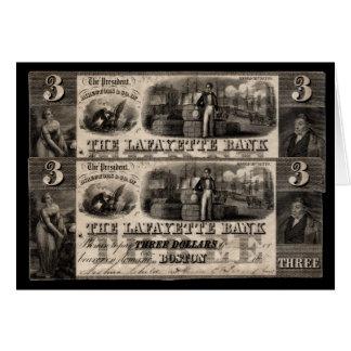 Banco 1837 de Lafayette nota de três dólares Cartão Comemorativo