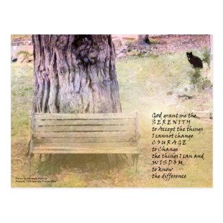 Banco da oração da serenidade, árvore, cartão do