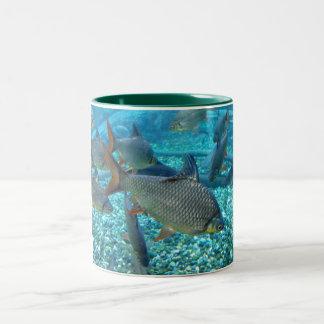 Banco de areia dos peixes caneca de café em dois tons