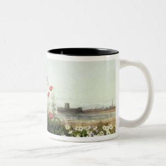 Banco de flores do verão caneca de café em dois tons