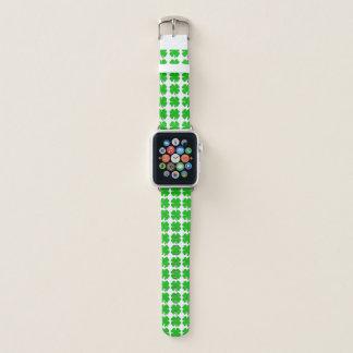 Banda de relógio da maçã do verde do trevo de