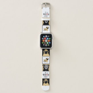 Banda de relógio de Apple dos Pugs do salvamento