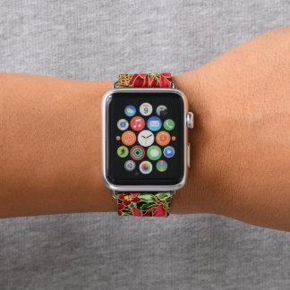 Banda de relógio floral da maçã do teste padrão do