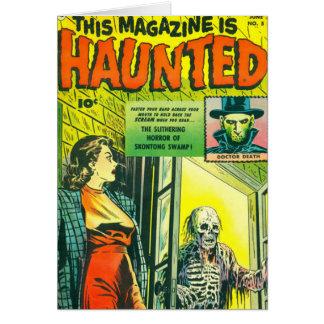 Banda desenhada do Dia das Bruxas do vintage Cartão Comemorativo