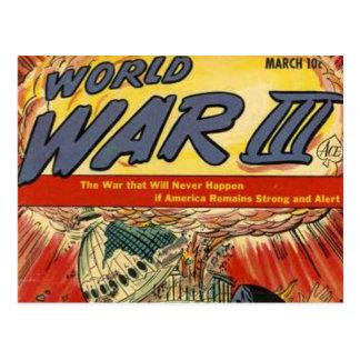 Banda desenhada do vintage da guerra mundial 3 cartões postais
