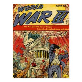 Banda desenhada do vintage da guerra mundial 3 cartão postal