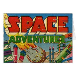 Banda desenhada dos aventureiros do espaço cartão comemorativo