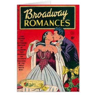 Banda desenhada dos romances de Broadway Cartao