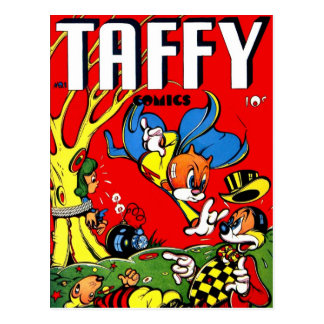 Banda desenhada retro do Taffy do kitsch 40s do vi Cartoes Postais