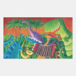 Banda Funky do dinossauro Adesivos Retangulares