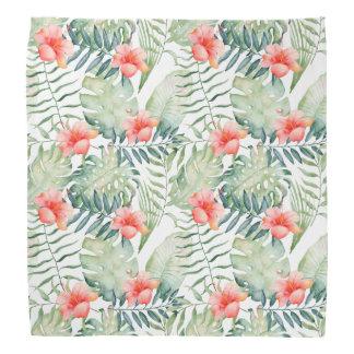 Bandana Aguarela floral do hibiscus tropical das folhas